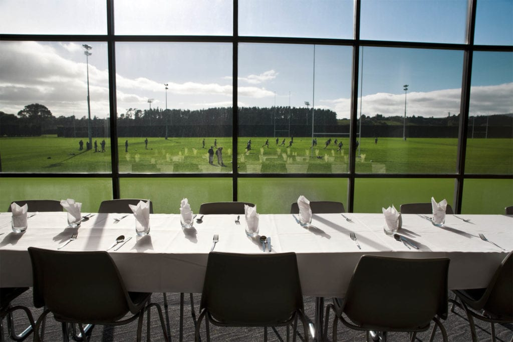 The Sport and Rugby Institute dining area looks directly over the main rugby field.