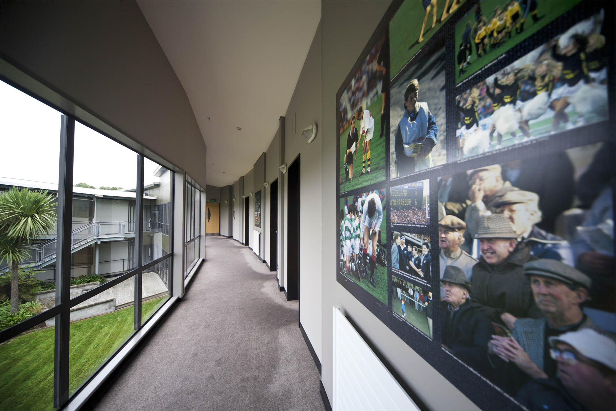 The hallways of the accommodation block features various pieces of rugby art and history