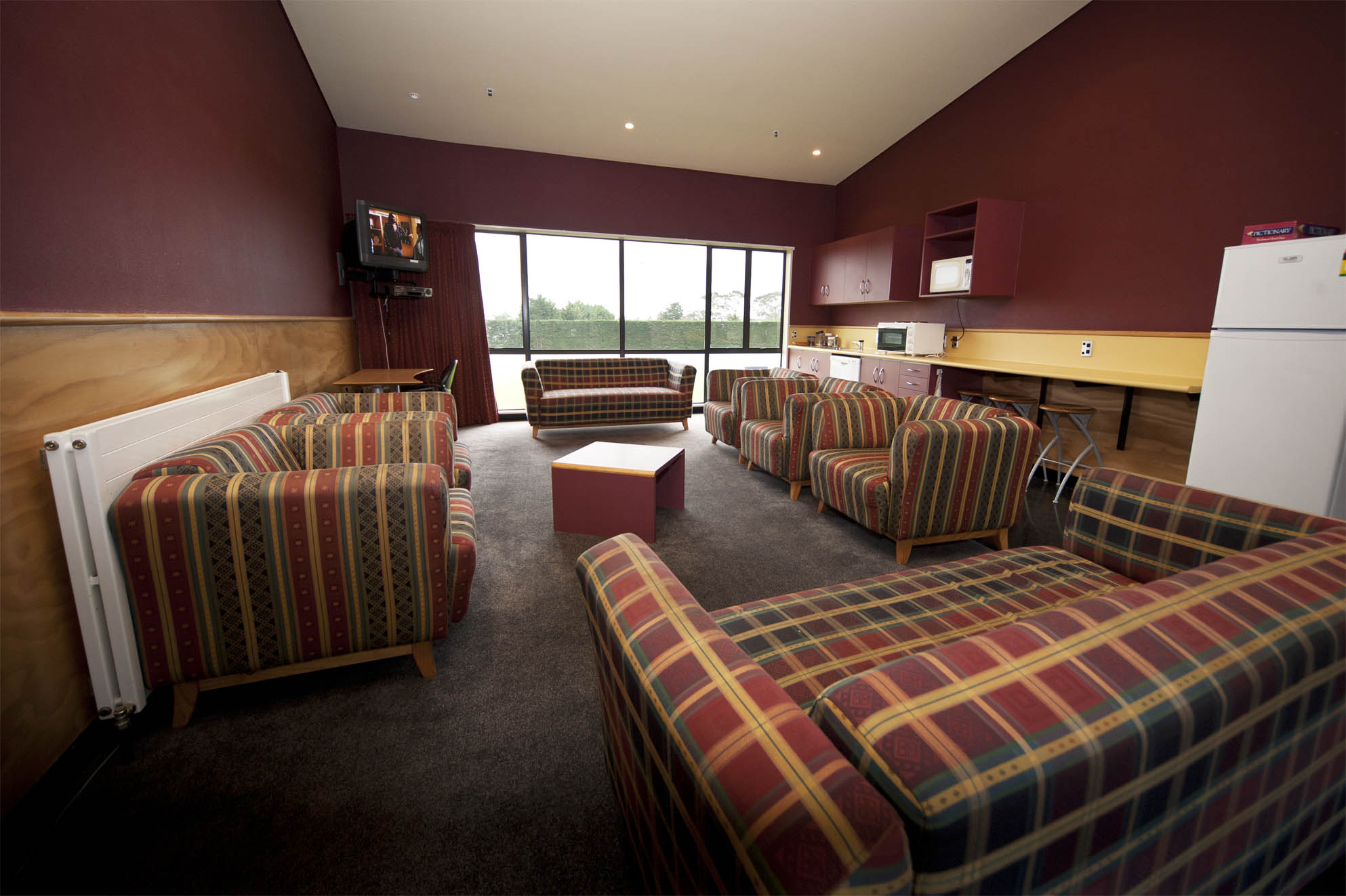 The accommodation block at the Sport and Rugby Institute features a couple of common rooms for players and coaches to take a break