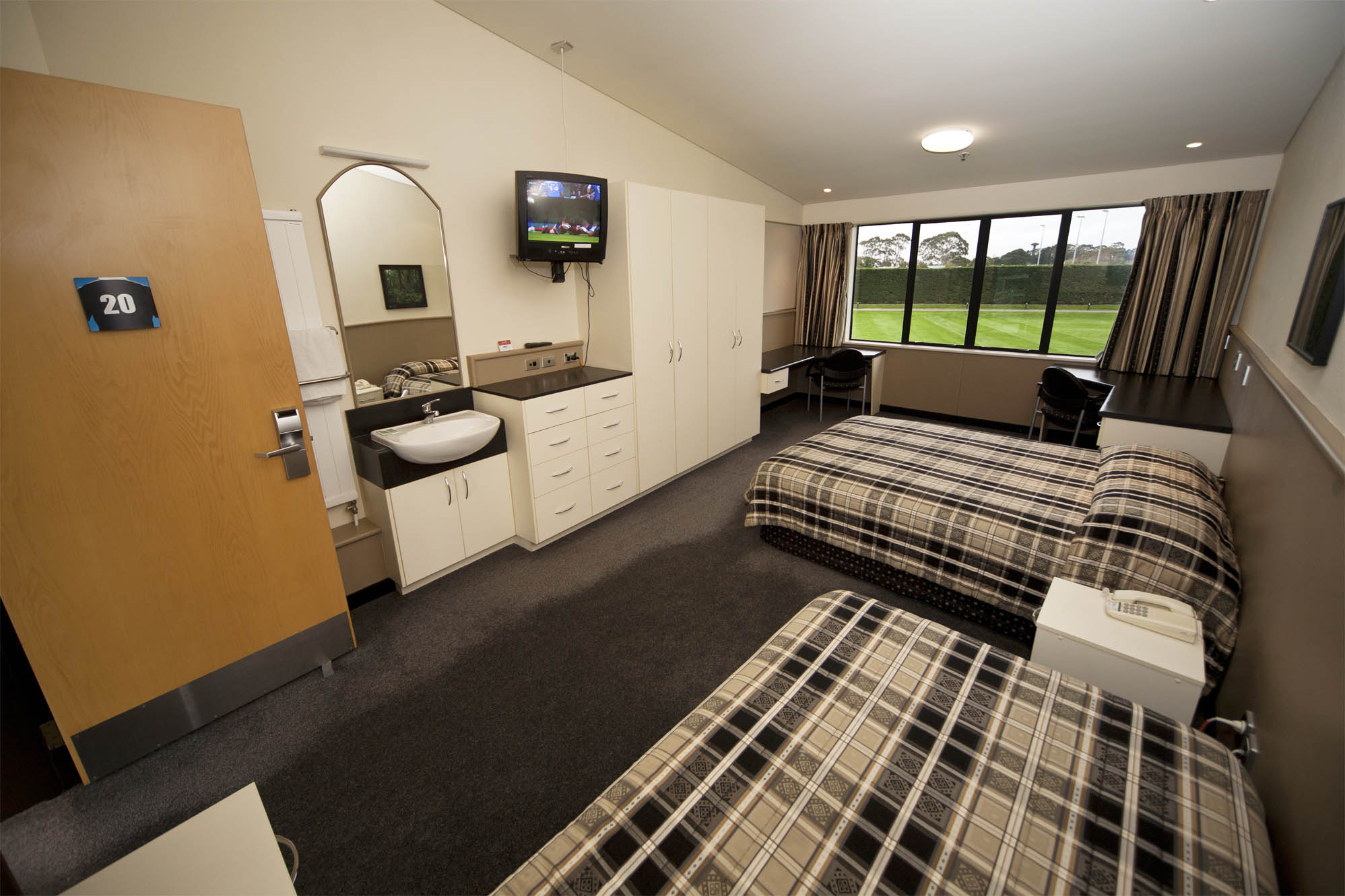 The accommodation block features a number of twin and triple share bedrooms for players and coaches to stay on site