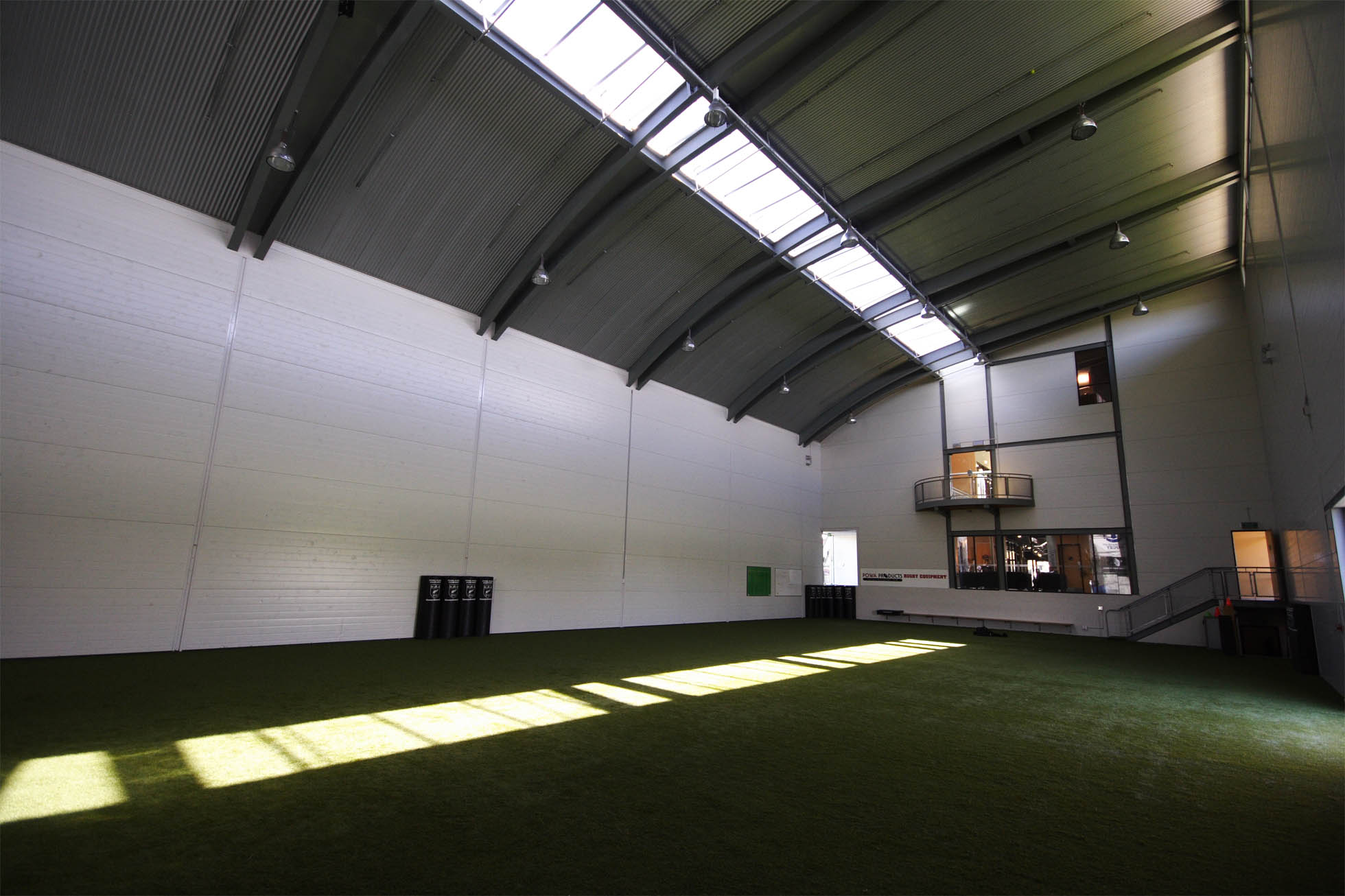 The turf-lined green room allows practice to take place, regardless of the weather