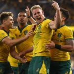Wallabies celebrating after convincing win over the All Blacks